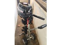 Outboard Motor - Mercury Mariner F 6 HP M, short shaft, fuel tank, motor stand. Good as new.