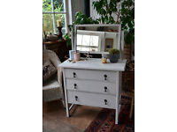 Compact off white vintage dressing table