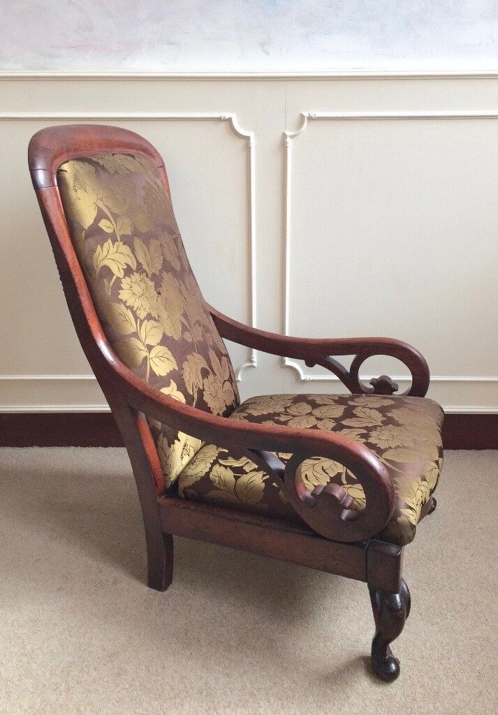 Antique Victorian Mahogany Scrolled Nursing Fireside Gold Leaf Design Chair