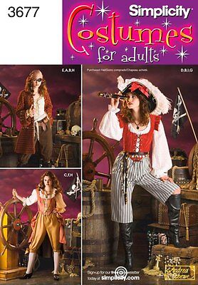 Simplicity Pattern 3677 Misses' Pirate Halloween Costumes - Choose Size