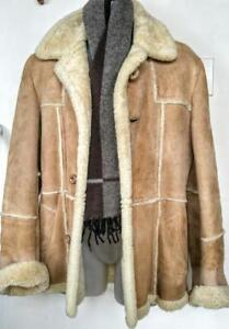 MENS S M 36 38 Sheepskin Shearling Jacket CAMEL BROWN & CREAM Canadian Brand Sexy Very Warm Winter Coat Vintage Retro