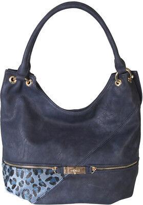 Faux Leather Patch of Leopard Print Shoulder Bag Hobo Purse Handbag Leather Print Hobo Bag