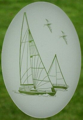 Sailboat Static Cling Window Decal OVAL 21x33 Nautical Decor for Glass Doors