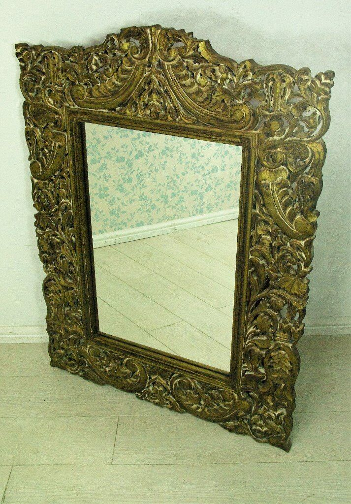 Beautiful fully hand crafted wooden frame Afghan antique mirror