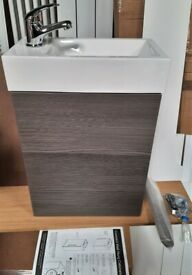 New Compact Wall Hung Vanity Unit In Avola Grey With Sink, Tap & Waste