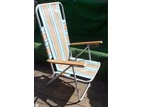 Retro Camping folding adjustable striped picnic deck chair
