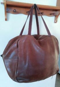 Oakville VINTAGE REAL LEATHER TENNIS BAG HUGE Great for Weekender Tote Luggage Large Handicraft Made by Hand Brown