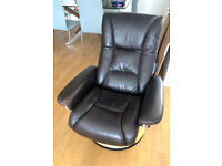 Leather Recliner and Footstool (Cookes - High Quality)