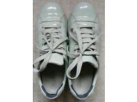 Camper Women's Pelotas shoes, patent leather, pastel/light green, UK 4/EU 37