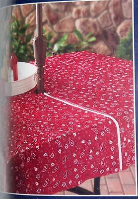 Maroon paisley Bandana Umbrella Tablecloth w zipper for pole 52 x 70 inch patio (Bandana Tablecloth)