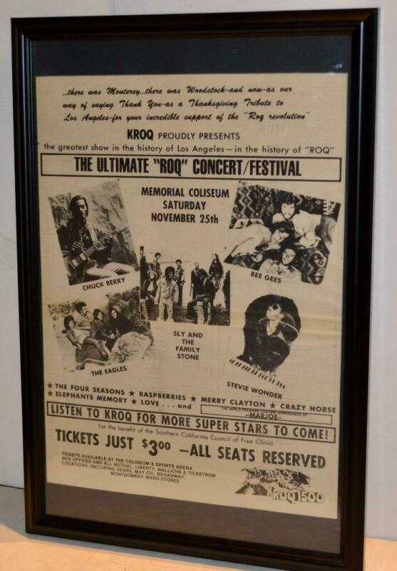 THE EAGLES CHUCK BERRY BEE GEES 1972 STEVIE WONDER COLISEUM CONCERT POSTER / AD