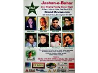 JASHANE BAHAR 23RD MARCH LIVE SINGING AND DINNER AT GRAND OCCASION 226 SOLIHULL ROAD B11 3AF