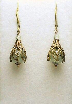 Art Nouveau Art Deco Vintage Style Brass Genuine Prehinte Light Green Earrings