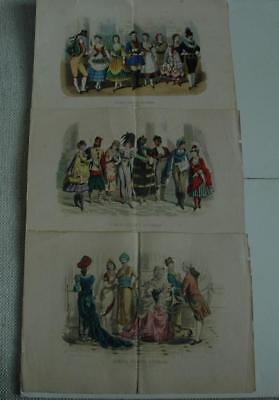 Lot of 3 Antique 19th Century  La Moda Elegante Ilustrada Colored Engravings
