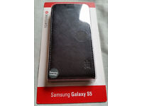 Samsung Galaxy S5 Tortoise Genuine Leather Flip Case - Brand NEW + 2x Screen protector