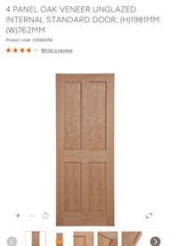 Brand New 4 PANEL OAK VENEER UNGLAZED INTERNAL STANDARD DOOR, (H)1981MM (W)762MM