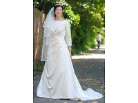 Modest, Ivory, Satin/Organza, Size 14, 3/4 sleeve, Maggie Sottero Wedding dress