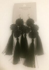 Black fringe earring from top shop