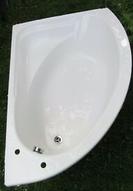 Bath - White Right-Handed Corner Bath with Curved Shower Screen - Used