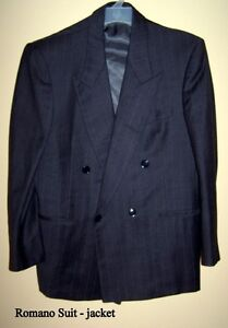 Vintage Suit, Romano, dark gray with medium gray pinstripe
