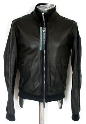 Emporio Armani Leather Bomber Jacket EU48 Medium Black / Blue RRP £975 coat