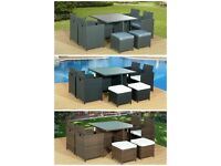 9Pc CUBE RATTAN GARDEN FURNITURE SET CHAIRS SOFA TABLE OUTDOOR PATIO 8 SEATER