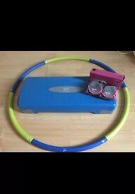 Davina Adjustable Stepper Davina Hula Hoop & Wrist Weights vgc