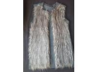 H&M Faux Fur Grey Waistcoat size S