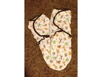 """2x jungle animals """"swaddle me"""" swaddle bags, in excellent condition, 50p each."""