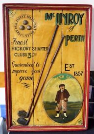 Rare Vintage Wooden Golf Advertising Board McInroy of Perth Est 1857