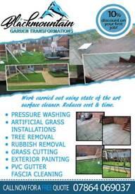 Property maintenance, gardening, Powerwashing, artificial grass install, stones laid etc.
