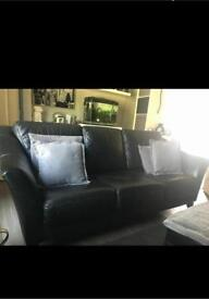 Black Italian leather sofa and chair