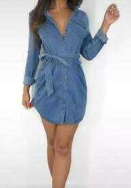 Women's button down denim dress