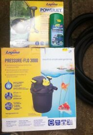 Pond filter, pump, fountain and accessories