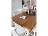 table and 6 chairs farmhouse/white/shabby chic