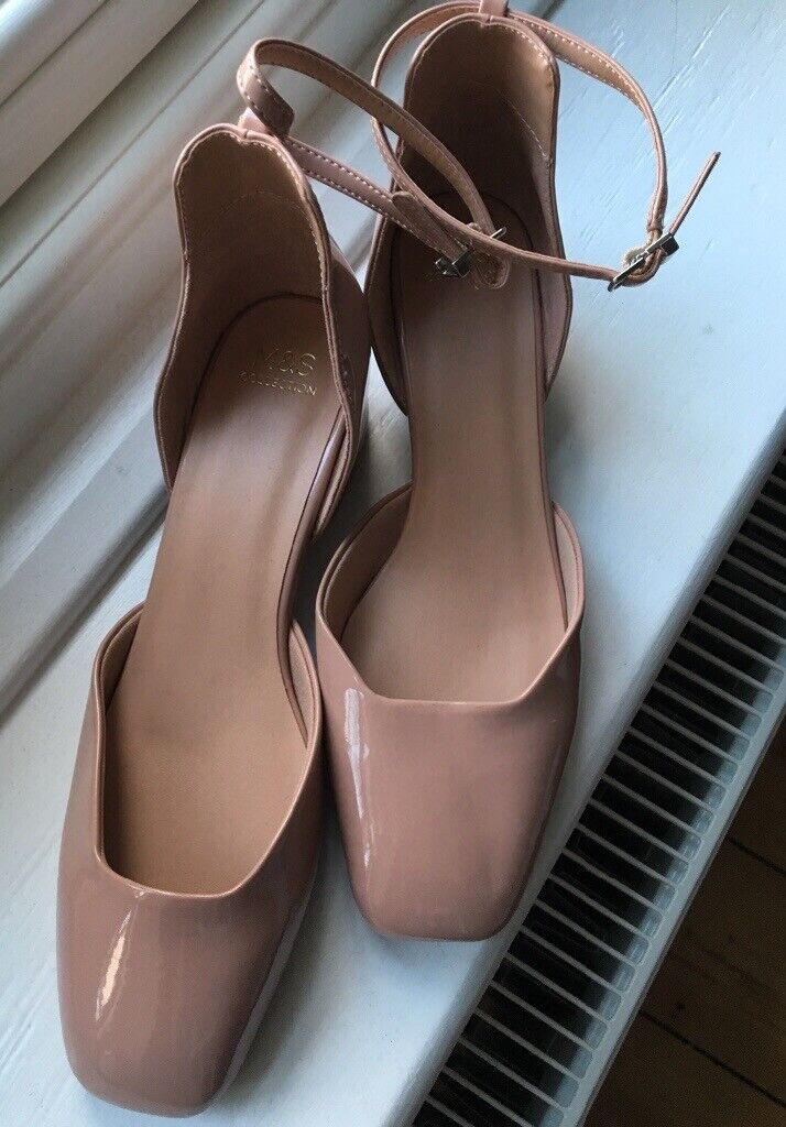 67411403461 £5 New M&S nude block heels with ankle strap, patent leather effect UK5.5  EUR39 size 5.5 shoe | in Ipswich, Suffolk | Gumtree