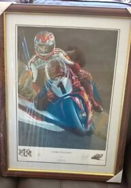 "Motor cycle Framed print Signed Limited edition 85/500 ""Superbike Super Champion"""