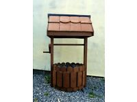 Garden Ornamental Wishing Well / Flower Tub / Planter - Wood and Terracotta