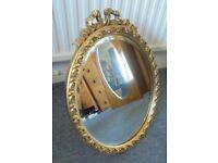 Oval Bevel Edged Mirror in a Bright Gilt Frame, 35cm x 47cm high