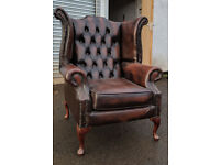 Chesterfield antique dark brown queen anne chair DELIVERY AVAILABLE