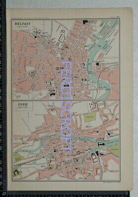1904 Vintage Bartholomew Map Plan of Belfast and Cork, Ireland