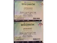 2x Justin Bieber Hyde Park Tickets