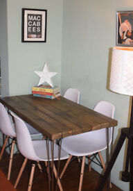 Industrial Kitchen Table and x 4 chairs Mid Century Style hairpin