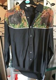 Hand made cowboy country and western style shirt featuring bears. Size s/m
