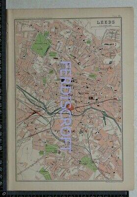 1904 Vintage Bartholomew Map Plan of Leeds