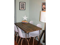Industrial Kitchen Table and x 4 White chairs Mid Century Style hairpin