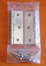 One Pair 2 Internal Door Butt Hinges Zinc Plated Silver with Screws 76mm x 50mm. New