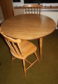 Small Drop leaf Table and two chairs