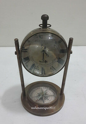 Antique Table Clock With Compass Vintage Gift Replica  Clock Nautical Decor home