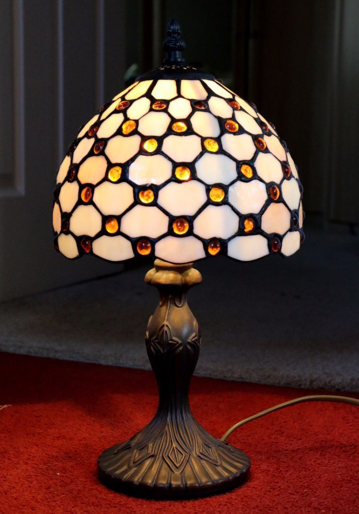 a vintage john lewis tiffany style table lamp leaded antique style